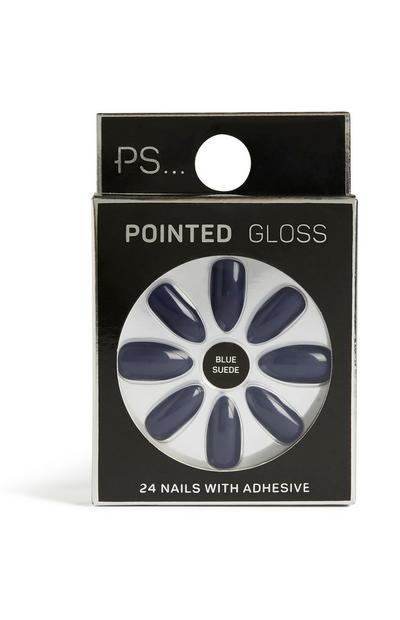 Blauwe suède kunstnagels pointed gloss