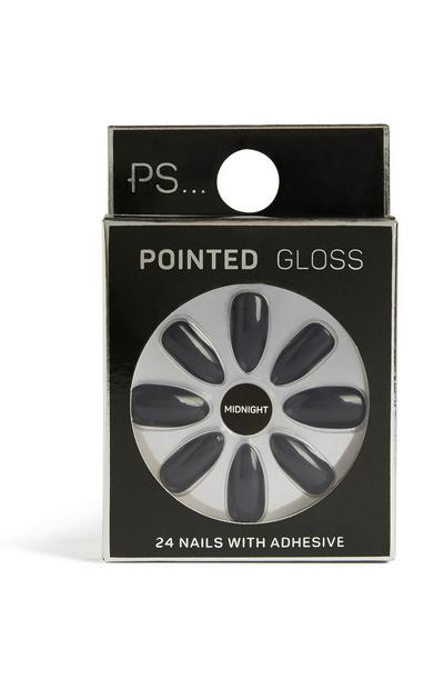 Faux ongles Midnight pointus brillants