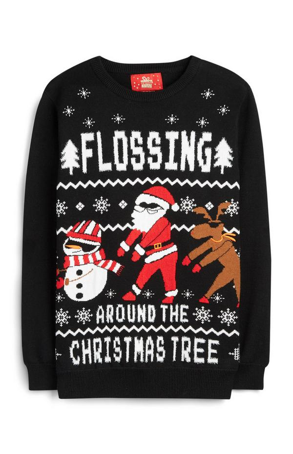 Older Boy Flossing Christmas Sweater