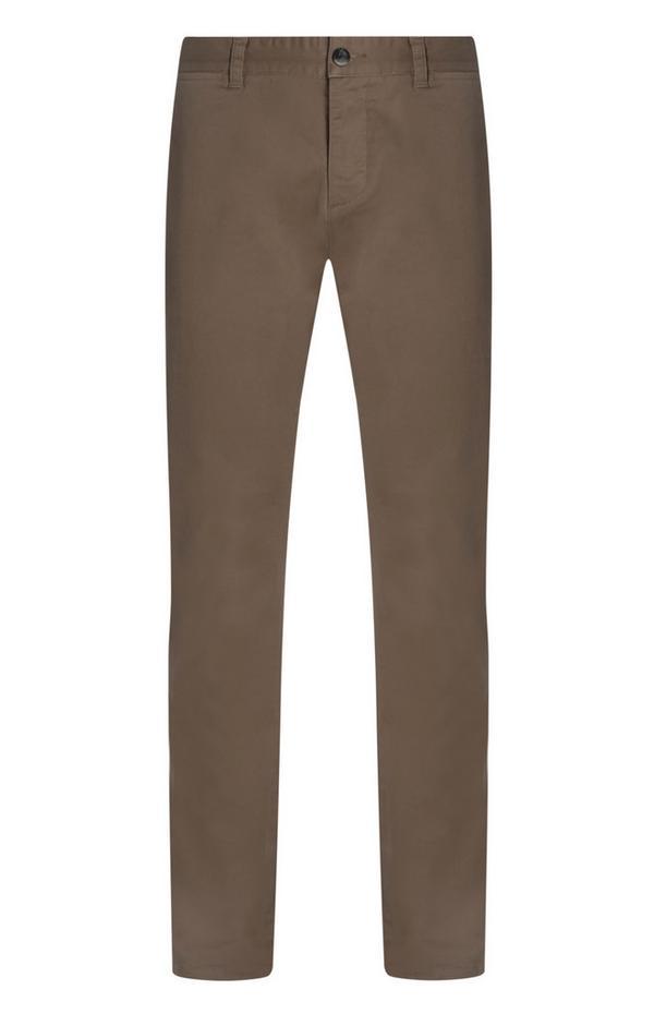 Calças chino justas elásticas cinzento