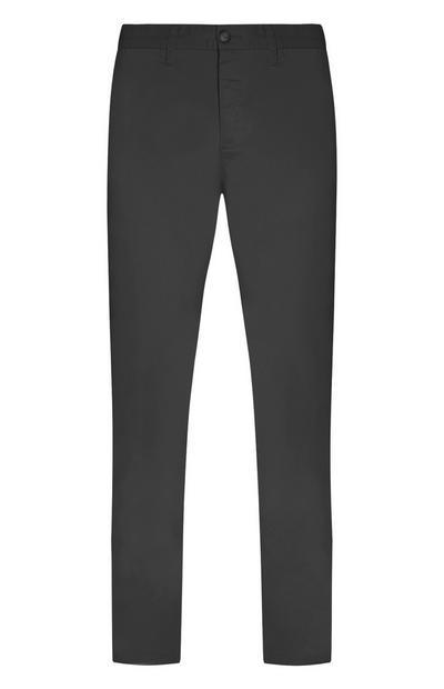 Calças chino elásticas cinzento-escuro