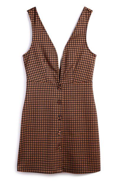 Brown Check Pinafore Dress