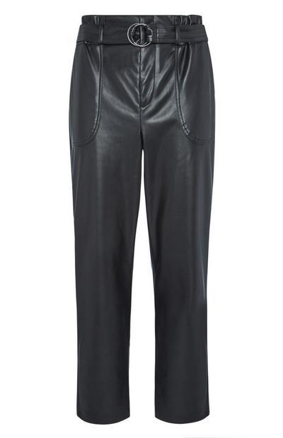 Črne usnjene hlače