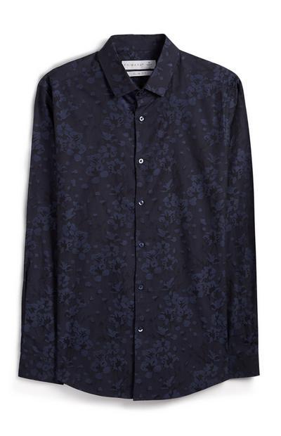 Chemise bleu marine à fleurs boutonnée