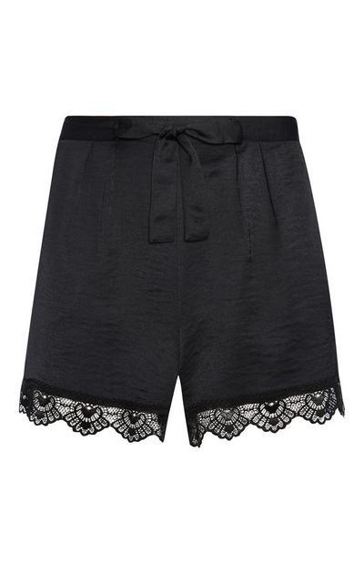 Black Lace Satin Shorts