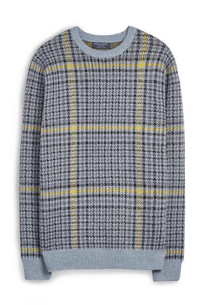 Siv starinski karirast pulover