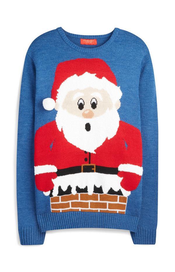Weihnachtspullover mit 3D-Weihnachtsmann, blau