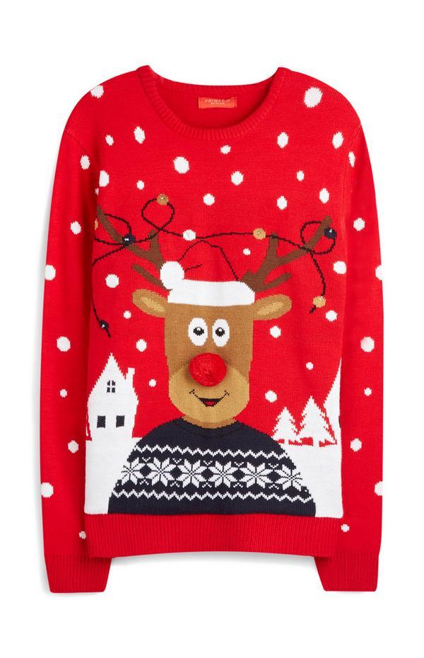 Pull de Noël à motif renne