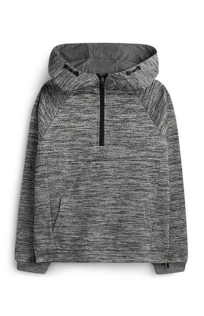 Siv teksturiran pulover s kapuco za starejše fante