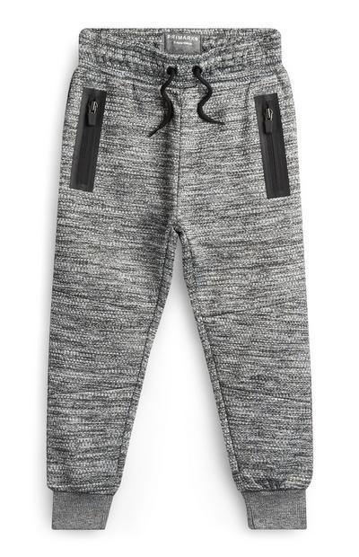 Sive teksturirane hlače za prosti čas za mlajše fante