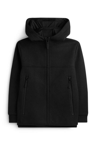 Older Boy Black Mesh Zip Up Hoodie