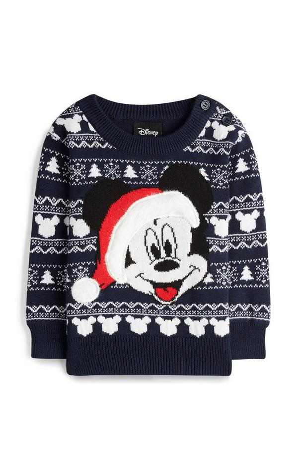 Baby Boy Mickey Mouse Black Christmas Sweater