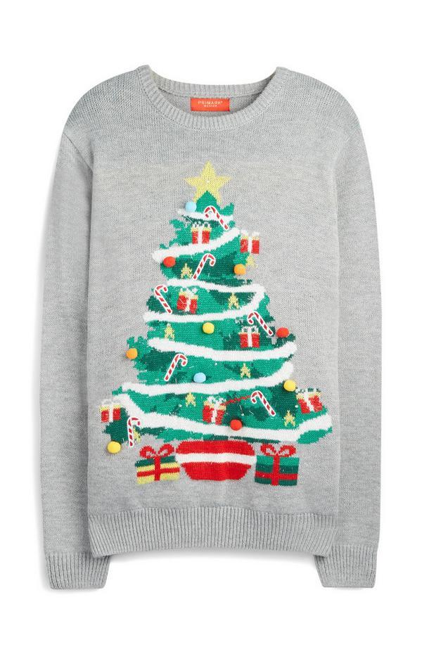 Grijze trui met kerstboom en -verlichting