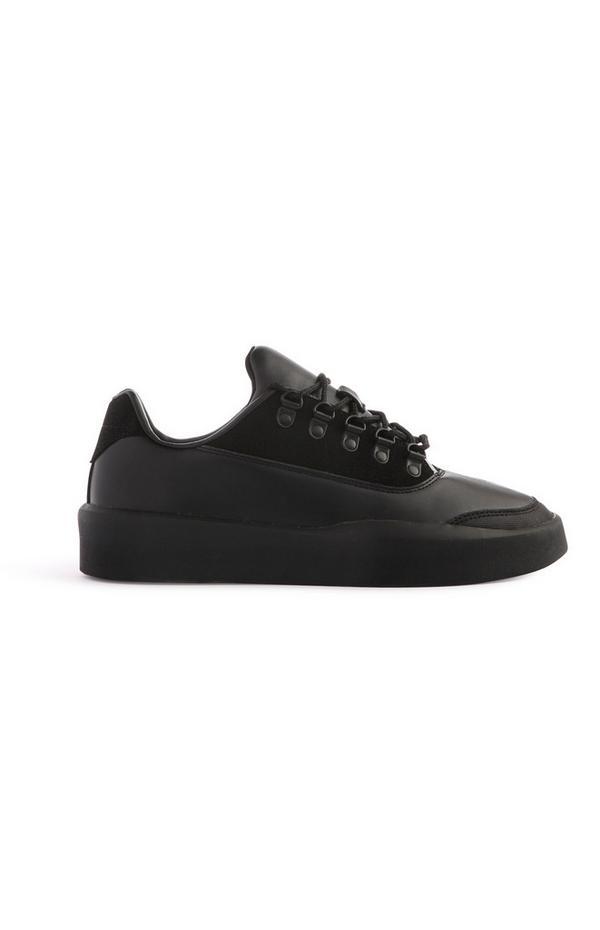 Baskets noires en simili cuir
