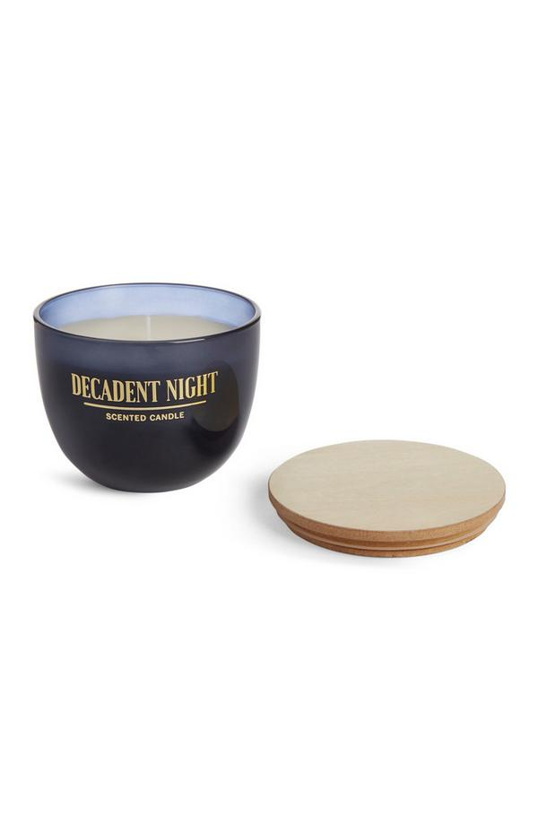 Large Blue Decadent Night Scented Candle With Wooden Lid