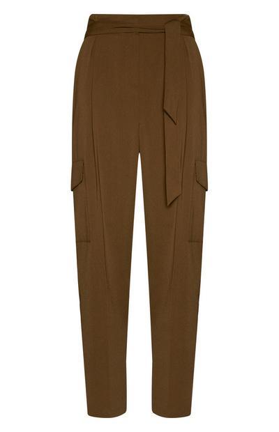 Olive Wide Leg Cargo Pants