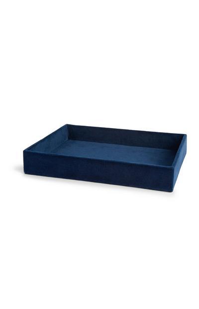 Bandeja decorativa de terciopelo azul marino