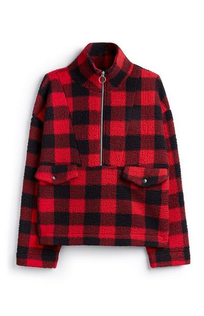 Red Sherpa Flannel Jacket