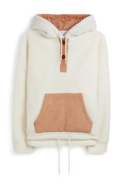 Ecru hoodie met borgvoering