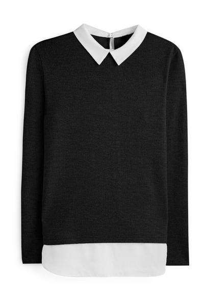 2-in-1-Hemd mit schwarzem Pullover