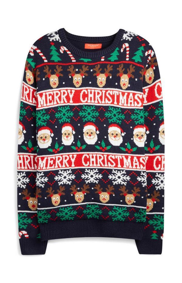 Navy Santa Claus And Rudolph Merry Christmas Fair Isle Jumper