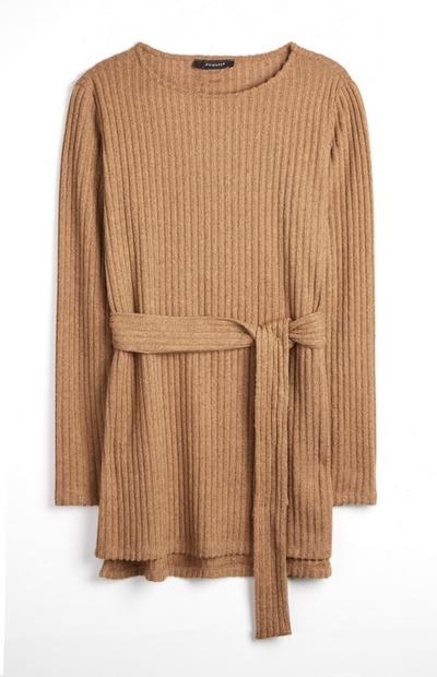 Brown Ribbed Belted Tunic