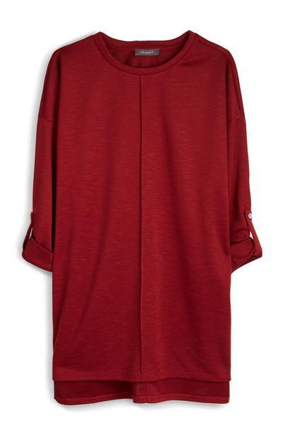 Deep Red Loose Long Sleeve T-Shirt