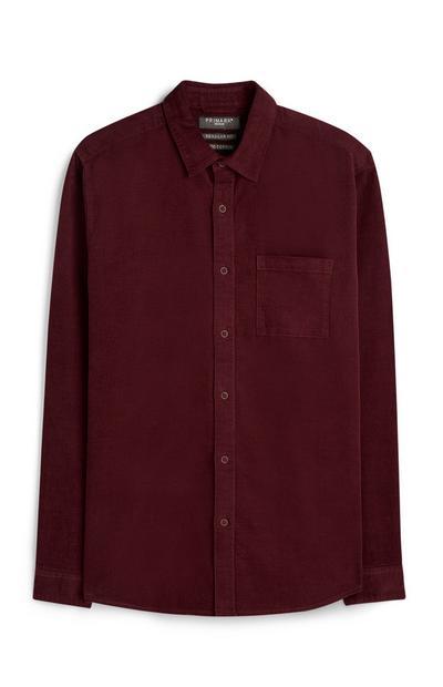 Burgundy Button Up Corduroy Shirt