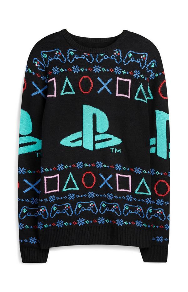 Black Playstation Christmas Jumper