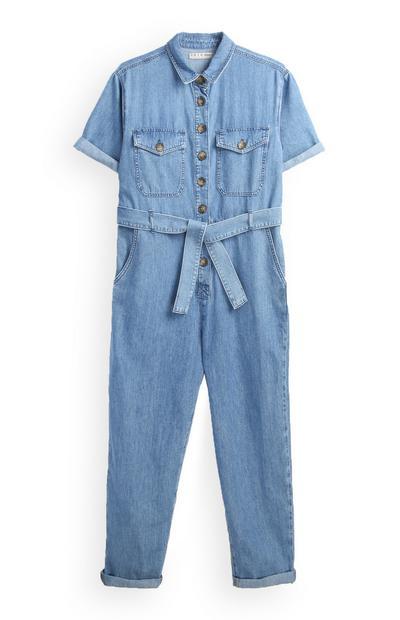 Blauwe overall met riem