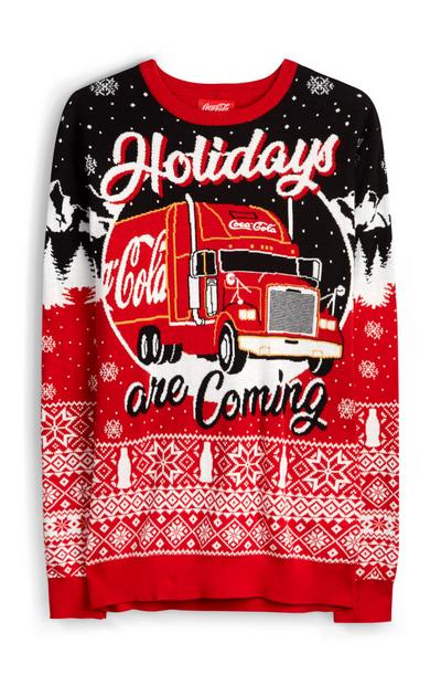 Rode Fair Isle kersttrui met Coca Cola-thema