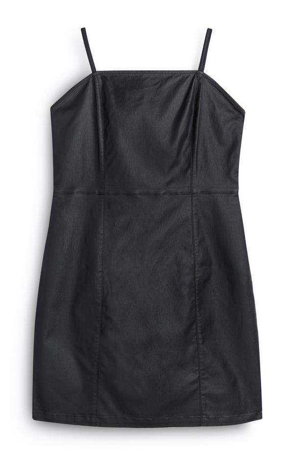 Schwarzes Kunstlederkleid