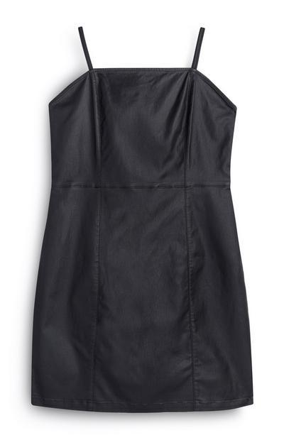 Zwarte jurk van imitatieleer