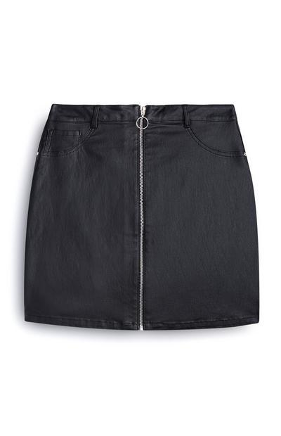 Jupe noire zippée en simili cuir