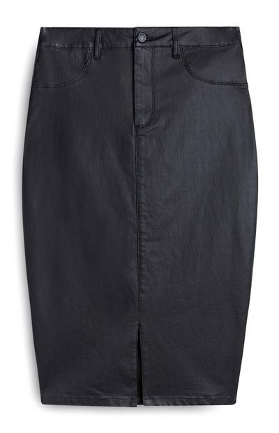Halflange zwarte rok van imitatieleer