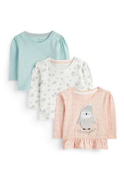 3 T-shirt con pinguino da bimba