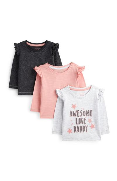 Babyshirts voor meisjes, set van 3