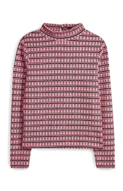 Pinkfarbenes, figurbetontes Bouclé-T-Shirt