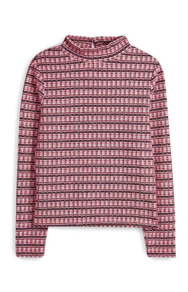 Roze bouclé T-shirt, getailleerd