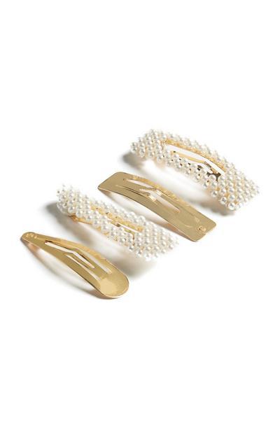 Pack de 4 clips a presión de metal y perlas