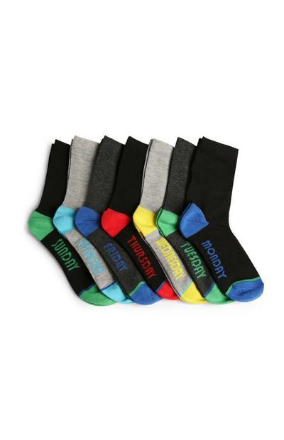 7 paia di calzini con giorni della settimana