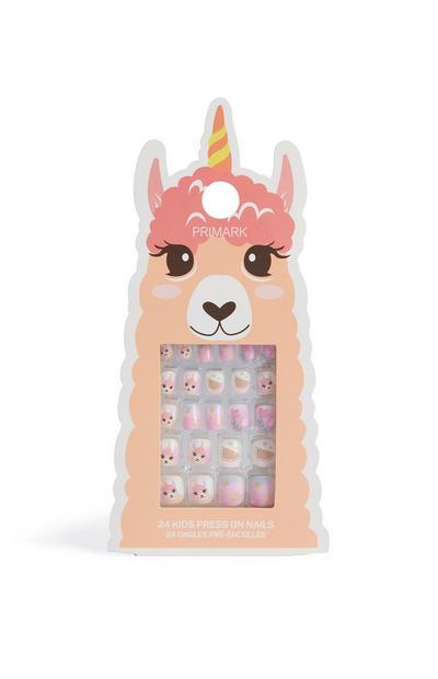 Uñas postizas con estampado Llama