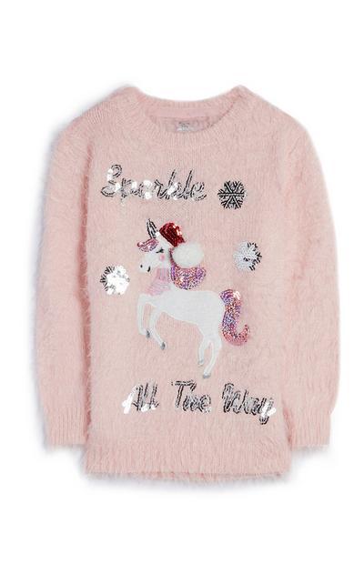 Pull rose à paillettes avec motif licorne Sparkle All The Way ado