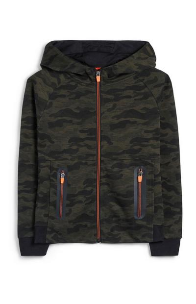 Older Boy Camo Zip Up Hoodie