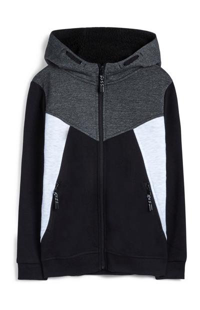 Older Boy Charcoal Borg Lined Hoodie