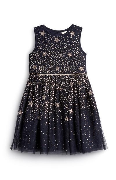 Vestido estrelas menina azul-marinho/dourado