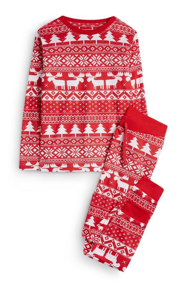 Pijama con estampado de greca alpina para niña pequeña