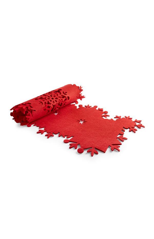 Roter Tischläufer mit Weihnachtsmuster
