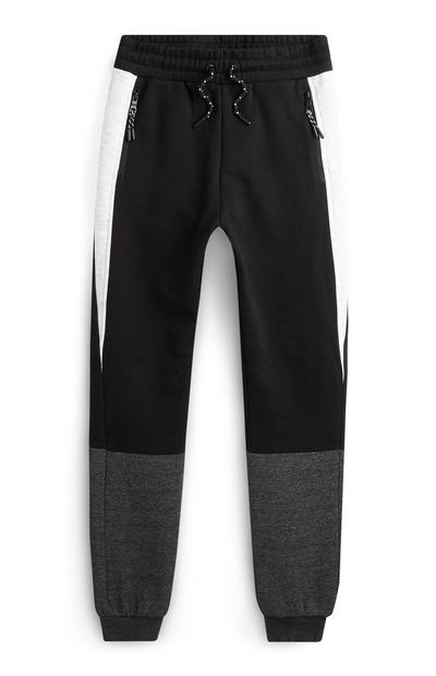 Older Boy Black White And Grey Joggers