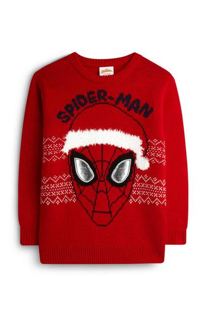 Younger Boy Red Spiderman Christmas Jumper